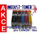 AB sada kazet PGI-570 XL BK a CLI-571 XL B,C,M,Y pro Canon - celkem 5 kazet